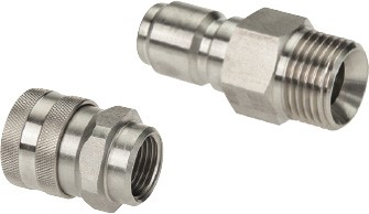 Couplings for washing devices and foam application guns