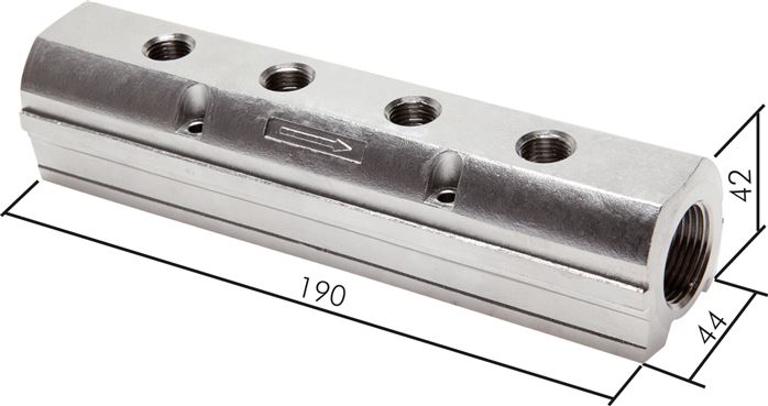Distributor bars made of stainless steel, one-sided (heavy duty), PN 15