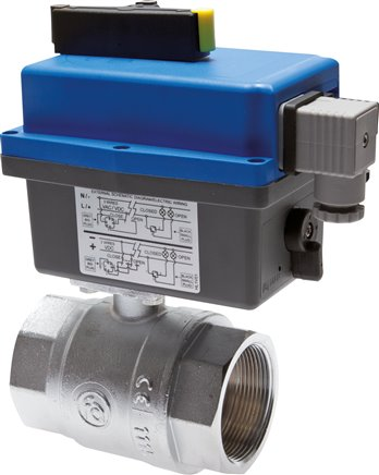 Ball valves with electrical rotary actuator (sanitary version), up to 40 bar